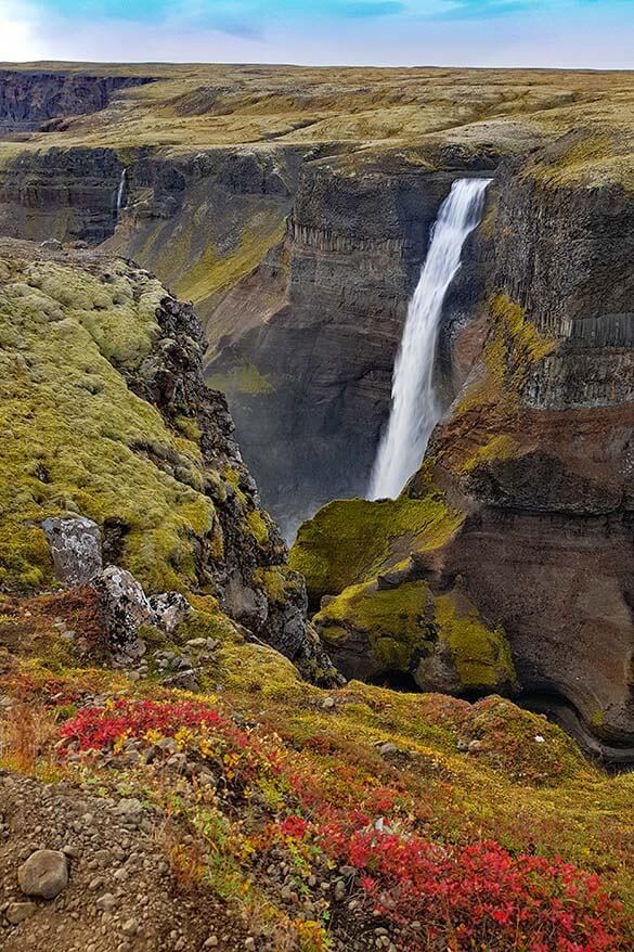 Haifoss waterfall in Iceland's highlands