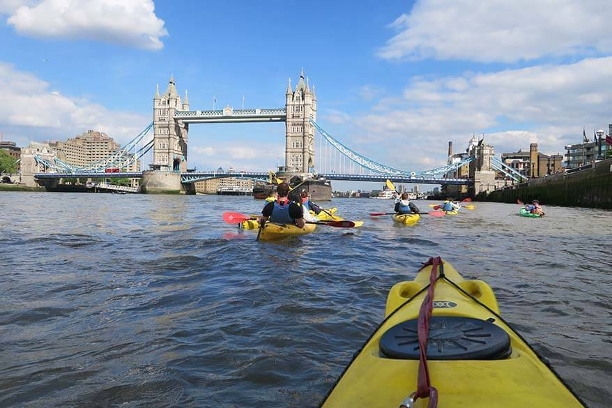 Kayaking under the Tower Bridge is a truly unique experience in London