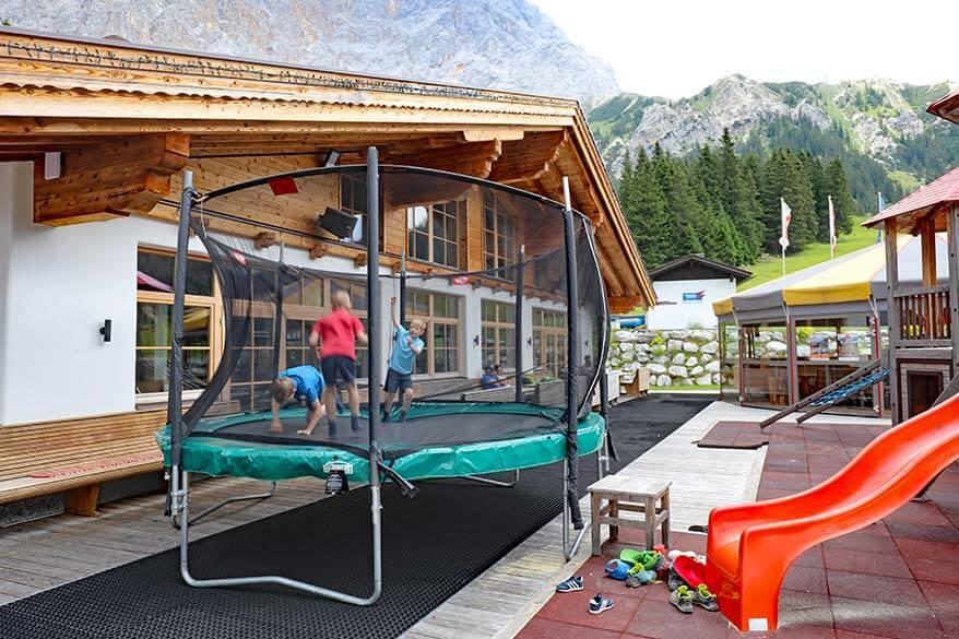 Kids playground and trampoline at Ehrwalder Alm in Tirol Austria
