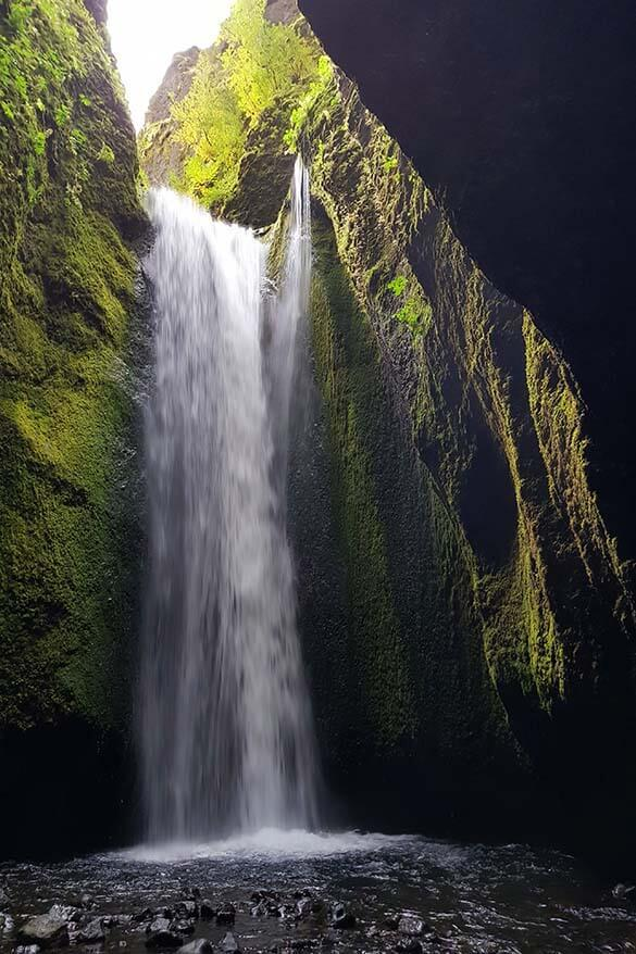 Nauthusagil gorge waterfall near Thorsmork in Iceland