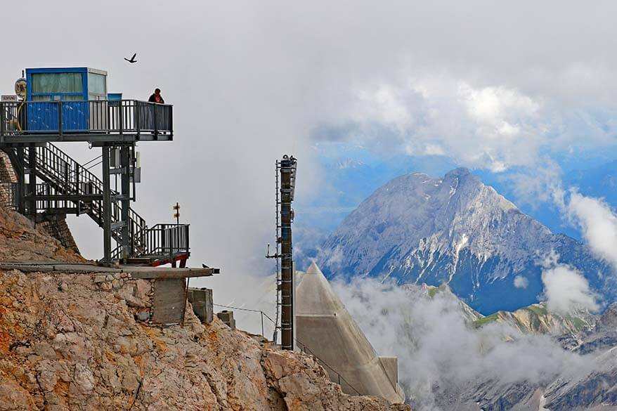 Old border checkpoint on Zugspitze mountain between Austria and Germany