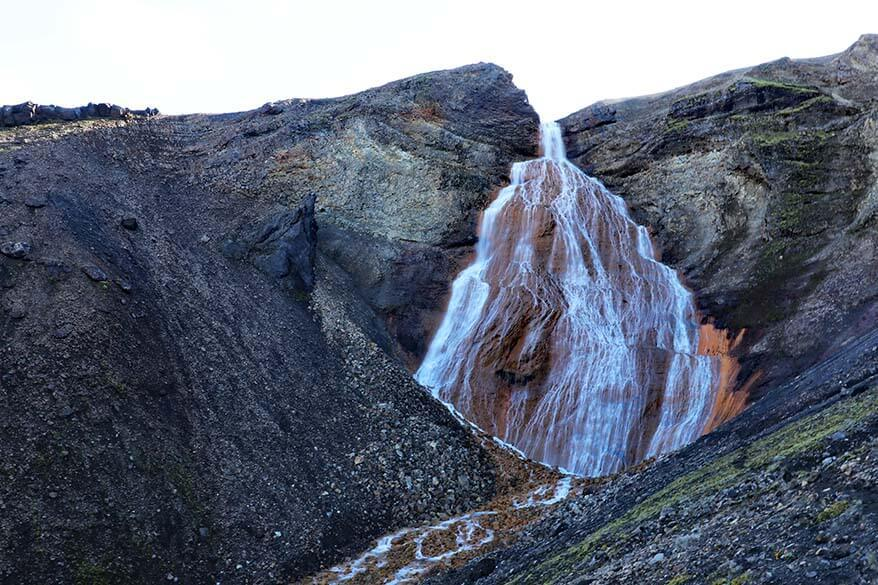 Raudufoss, the Red Waterfall in the highlands of Iceland
