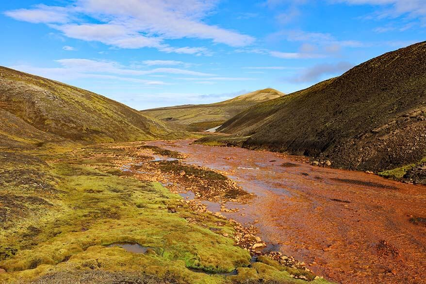 Raudufossakvisl river in the Red Falls Mountains in Icelandic highlands