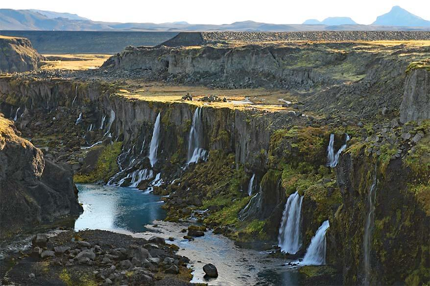 Sigoldugljufur canyon with many waterfalls in Iceland