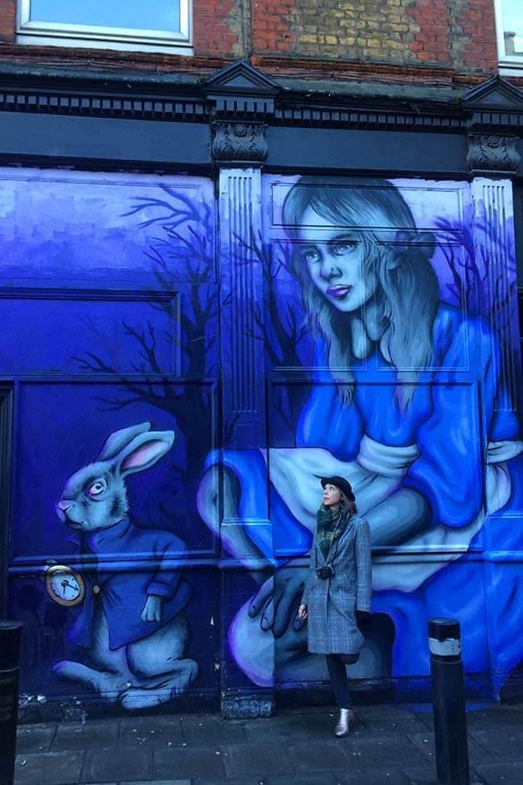Street art at a quirky Spitafields and Brick Lane neighbourhood in London, UK