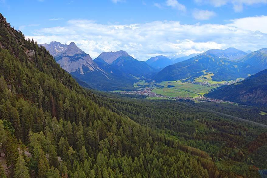 View over the mountains from Zugspitze cable car in Ehrwald Austria