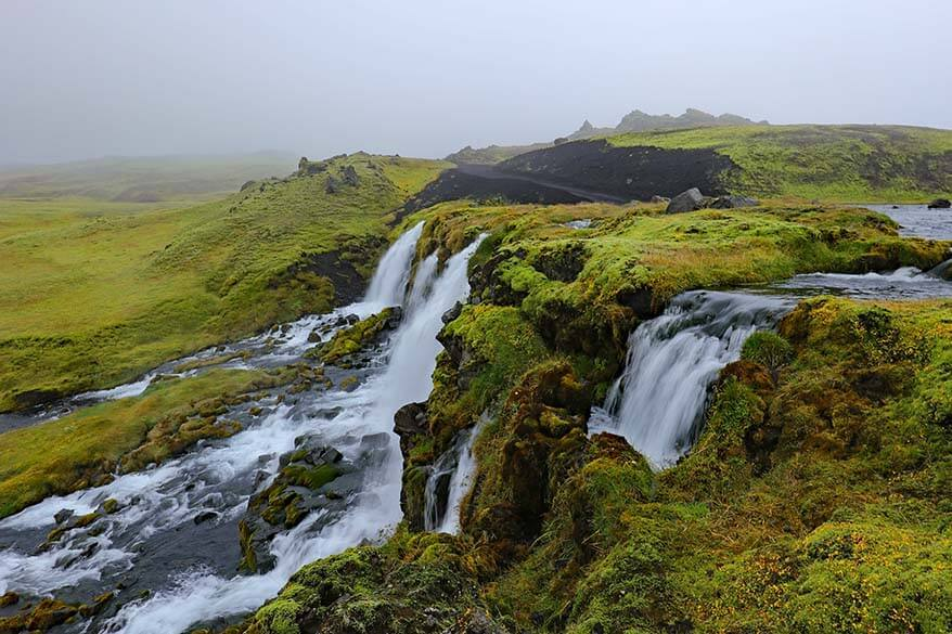 Waterfall along Fjallabaksleidsydri scenic road in Iceland