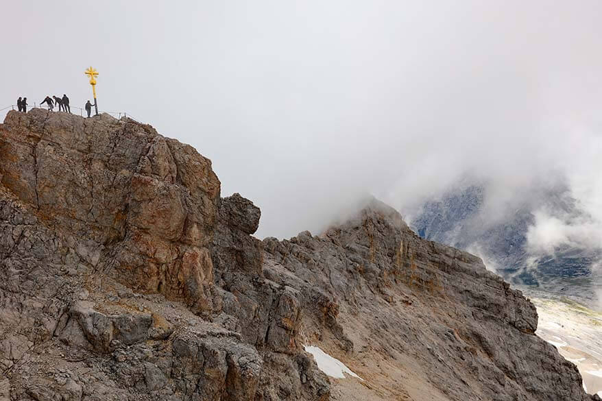 Zugspitze mountain top is on the German side