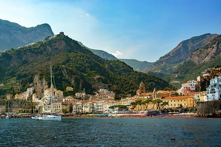 Amalfi Coast view from the water