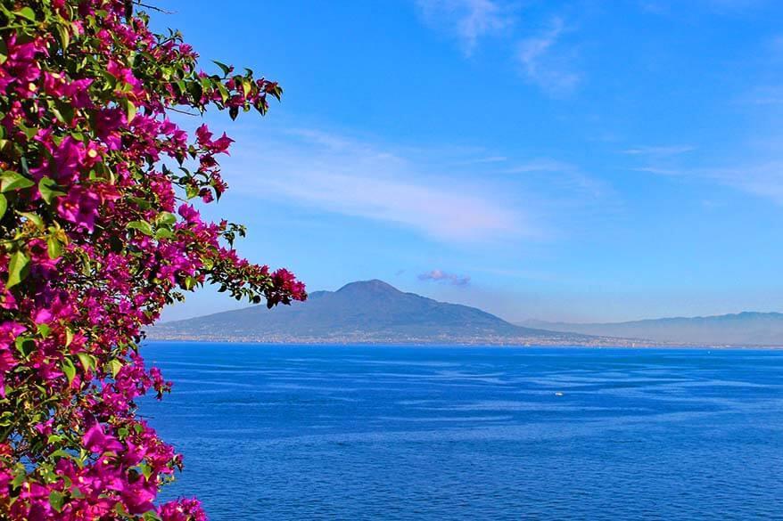 Amazing view of Mt Vesuvius from Sorrento Italy