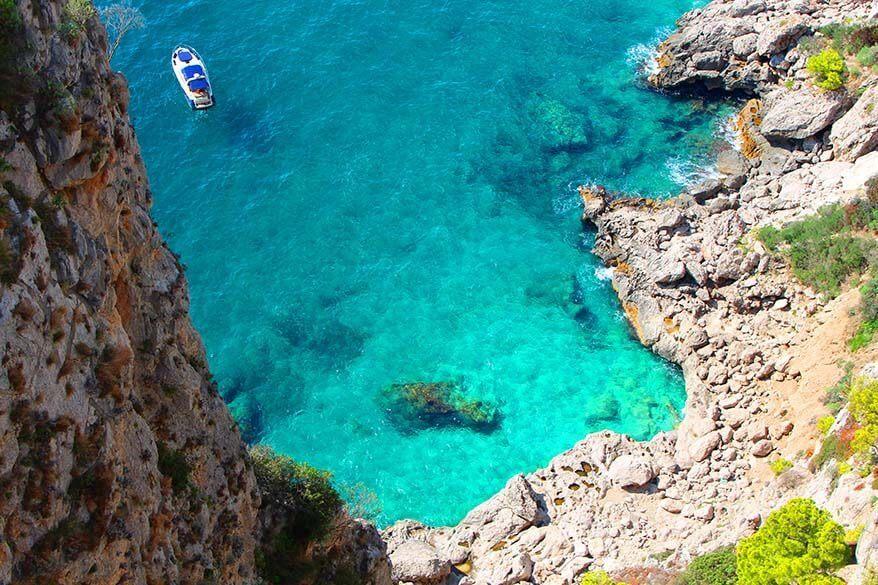Beautiful coastline and azure blue water of Capri island in Italy