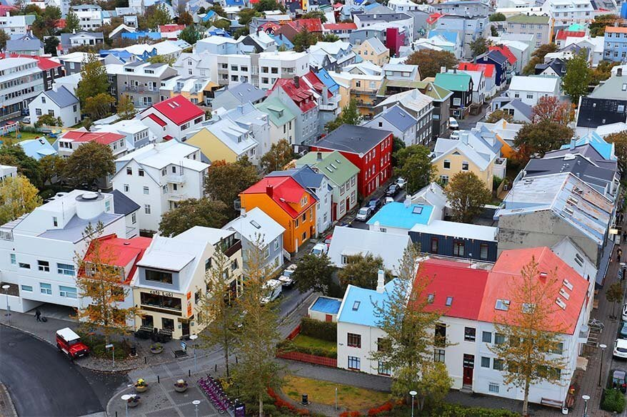 Colorful rooftops of Reykjavik as seen from Hallgrimskirkja church