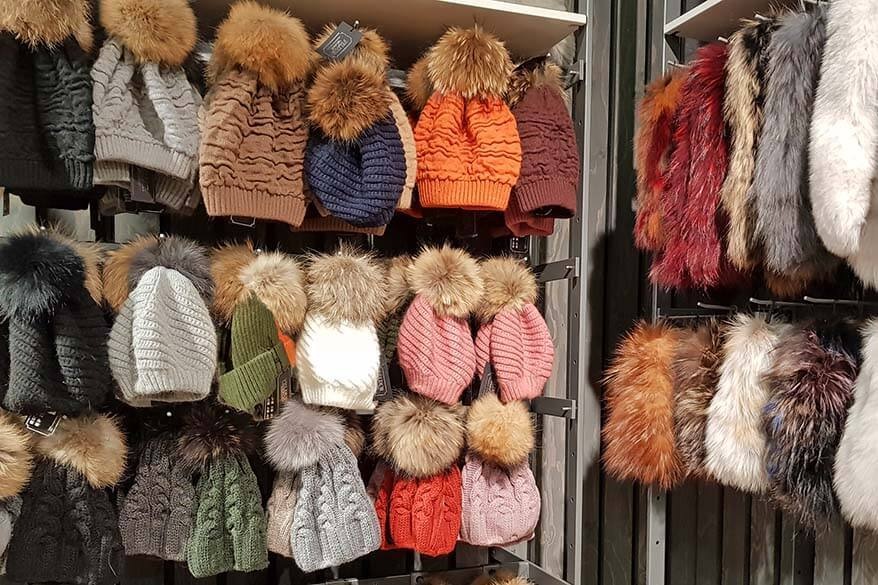 Colorful winter hats for sale in a shop in Iceland