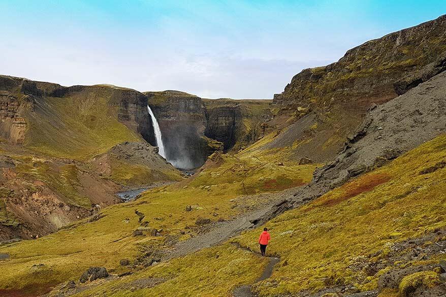 Hiking near Haifoss waterfall in Iceland