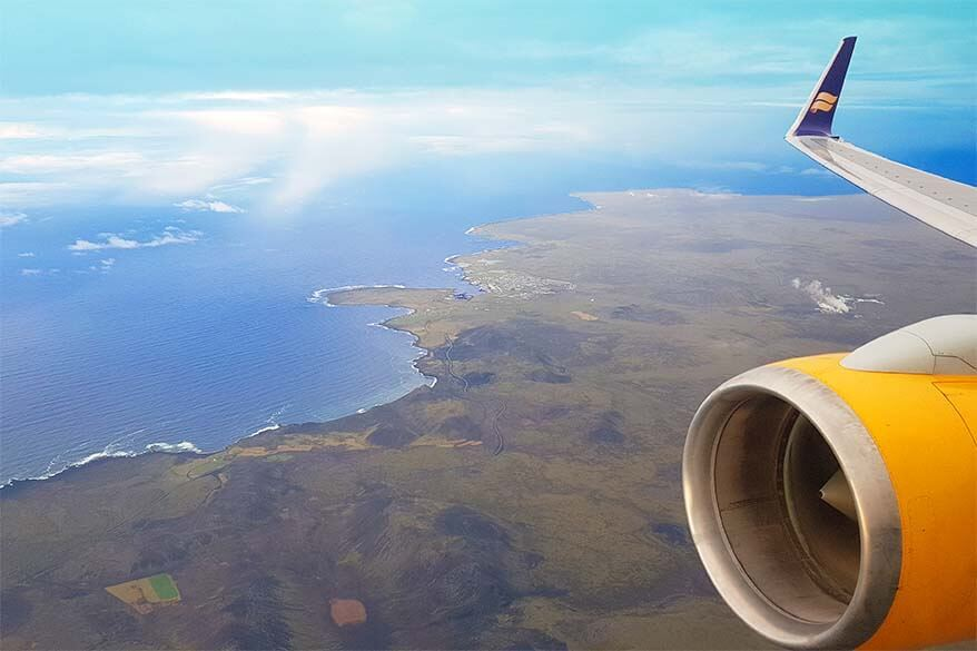 Icelandair airplane above the South Coast of Iceland aerial picture