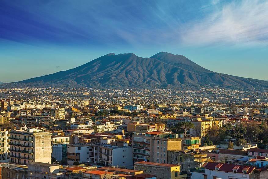 Naples cityscape with Mt Vesuvius in the distance