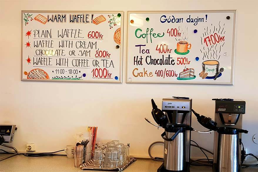 Prices of hot drinks and waffles at a small roadside cafe in Iceland