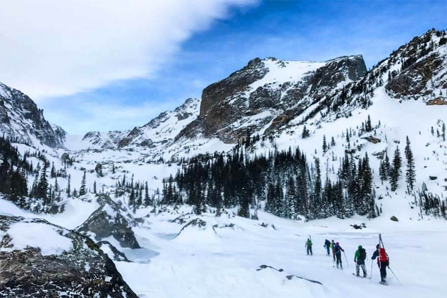 Rocky Mountain National Park is beautiful in winter as well - picture of frozen Lake Haiyaha
