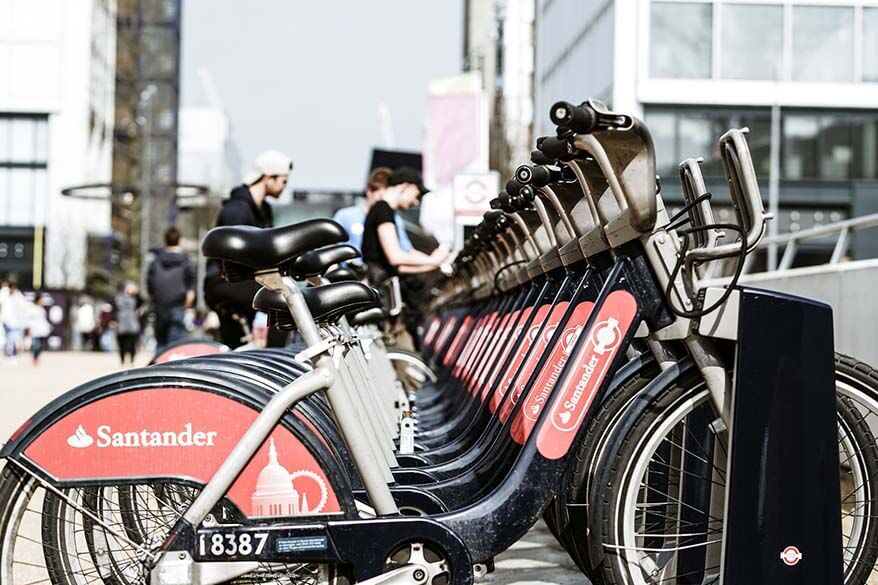 Santander public bike rental system - bicycles for hire in London