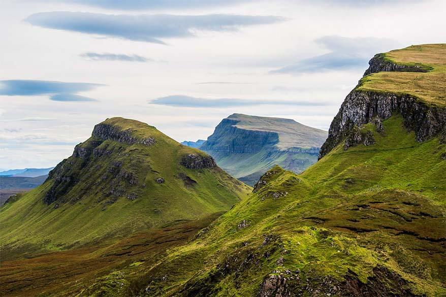 Scenery along the Quiraing trail on the Trotternish Loop, Isle of Skye, UK