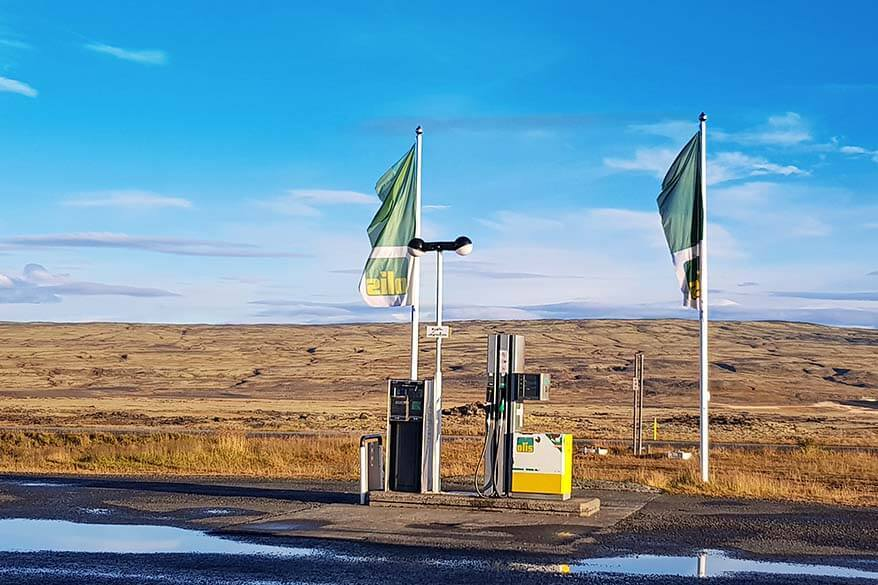 Small petrol station near Icelandic highlands - fuel prices in Iceland are similar to UK and Western Europe