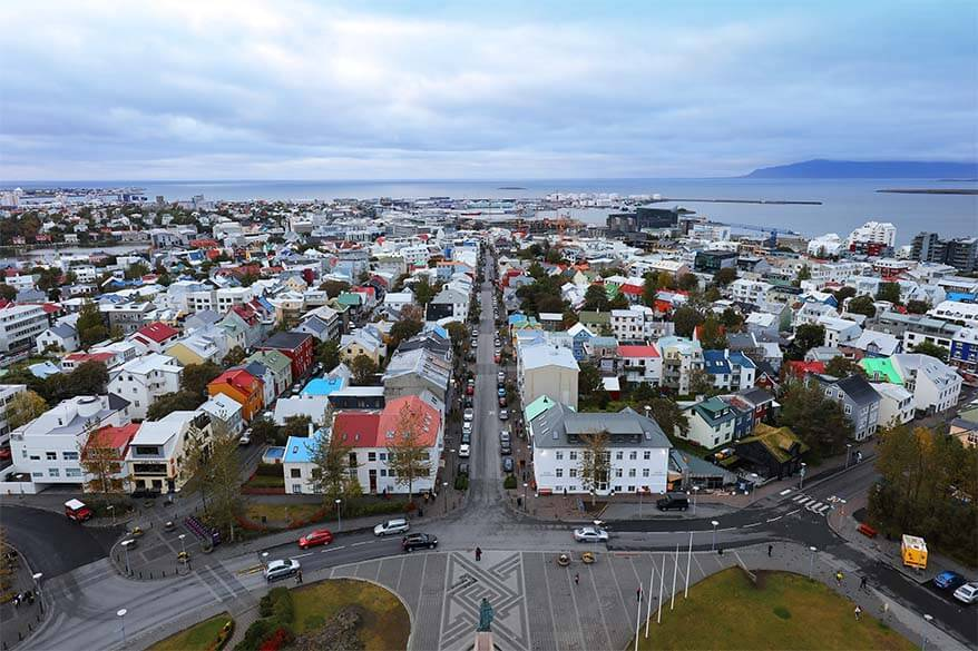 View over Reykjavik from Hallgrimskirkja - visiting the church tower is one of the cheaper activities in Iceland