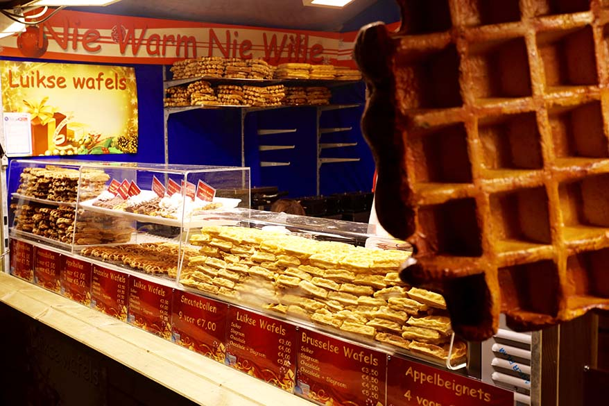 Belgian waffles stand at a local Christmas market