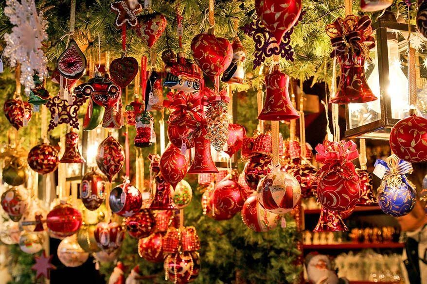Christmas ornaments at a Christmas market