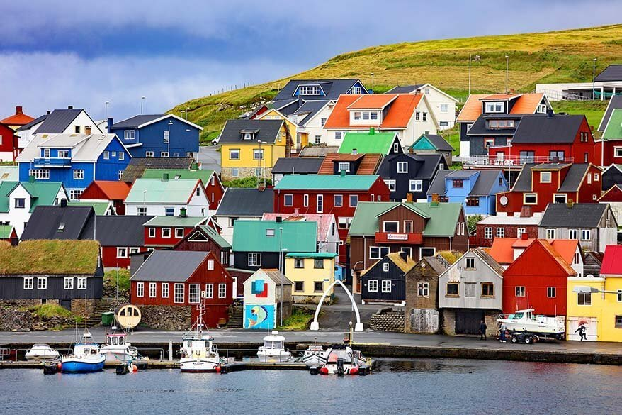 Colorful Nolsoy village on the Faroe Islands
