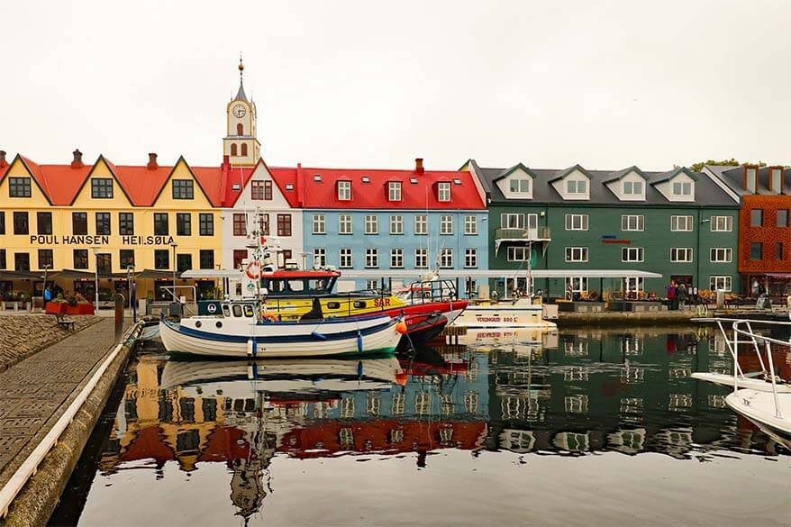 Colorful buildings at Vagsbotnur harbour in Torshavn
