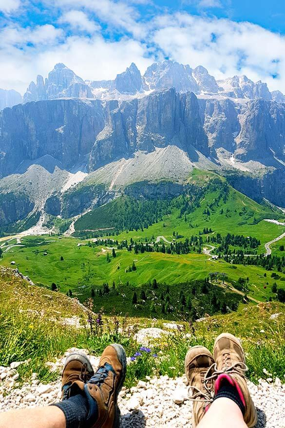 Dolomites hiking - mountain view from Forcella Cier near Gardena Pass