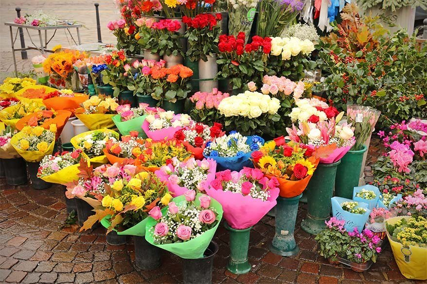 Flowers for sale on the streets of Milan in Italy