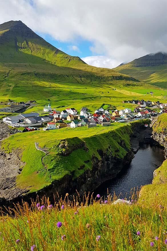 Gjogv village is one of the most popular places to visit on the Faroe islands