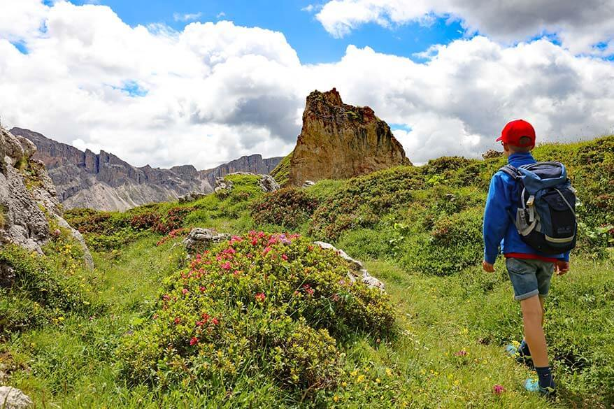 Hiking at Pieralongia in Puez-Odle Natural Park in the Dolomites