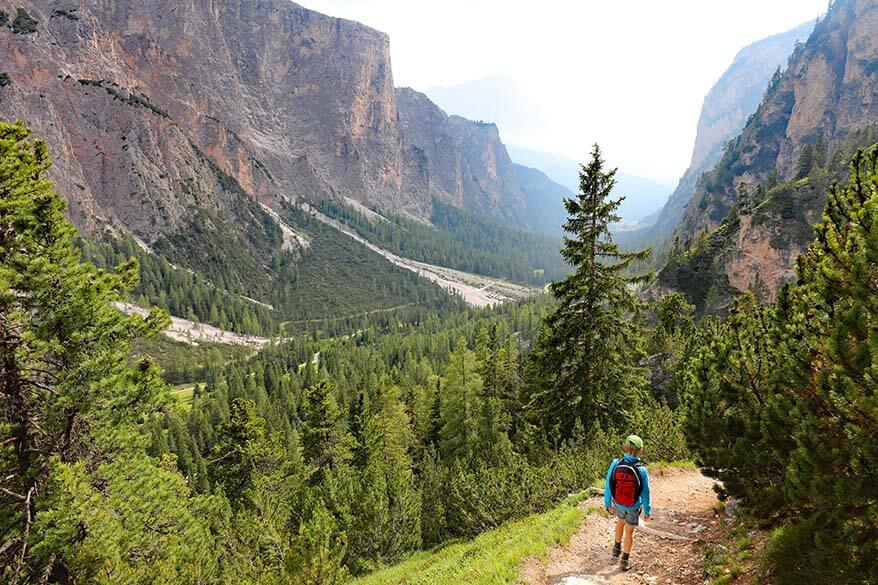 Hiking from Puez Hut to Selva in The Puez-Geisler Nature Park in the Dolomites