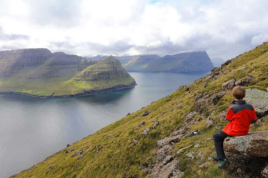 Hiking on Vidoy island on the Faroe Islands