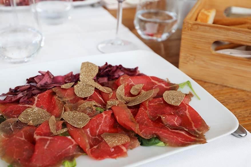 Italian beef carpaccio at a Milanese restaurant