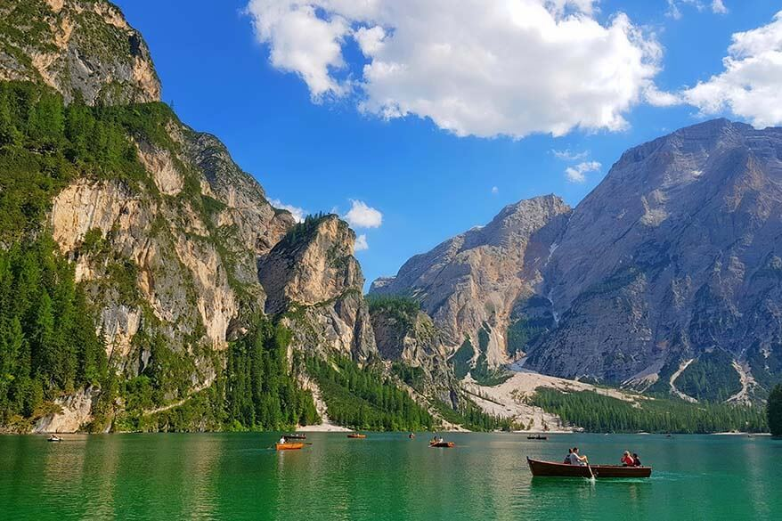 Lago di Braies is one of the most beautiful lakes in the Dolomites
