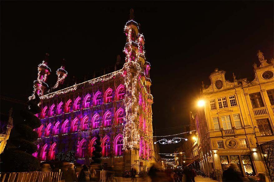 Leuven city hall at Christmas
