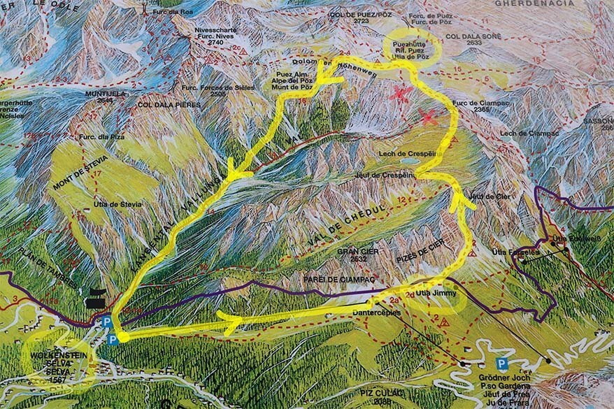 Map of Selva to Rifugio Puez hike starting at Dantercepies cable car in Val Gardena
