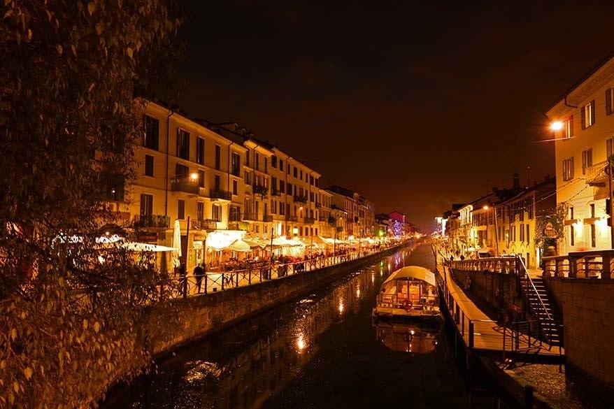 Naviglio Grande canal in Milan Italy