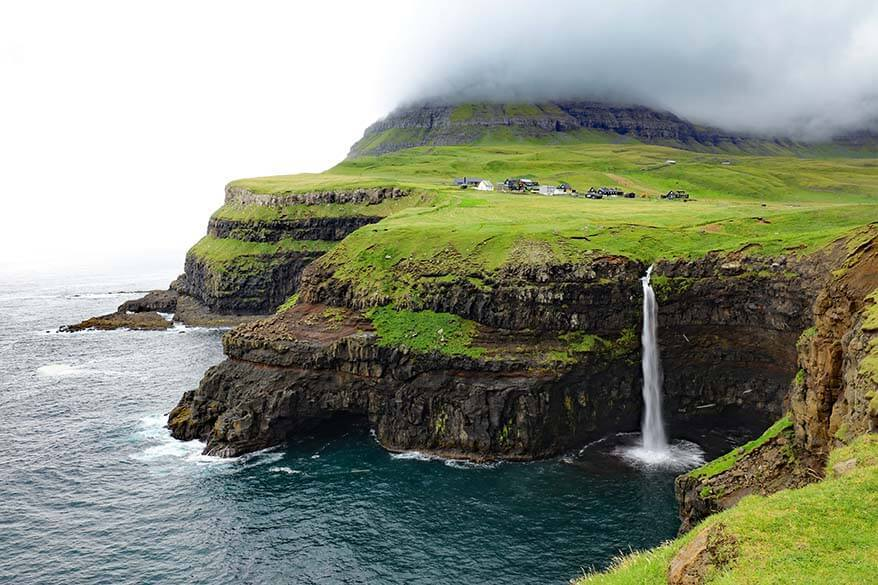 Mulafossur waterfall at Gasadalur village on Vagar island