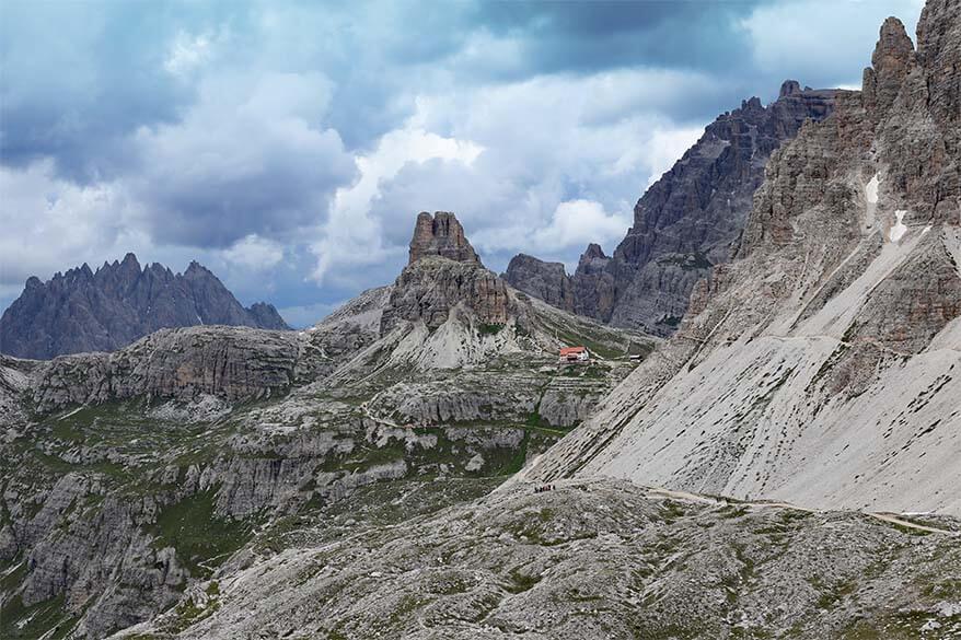 Rifugio Locatelli mountain hut near Tre Cime di Lavaredo in the Dolomites