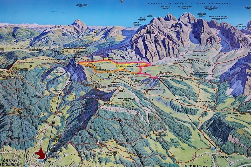 Seceda Pieralongia hike on the map
