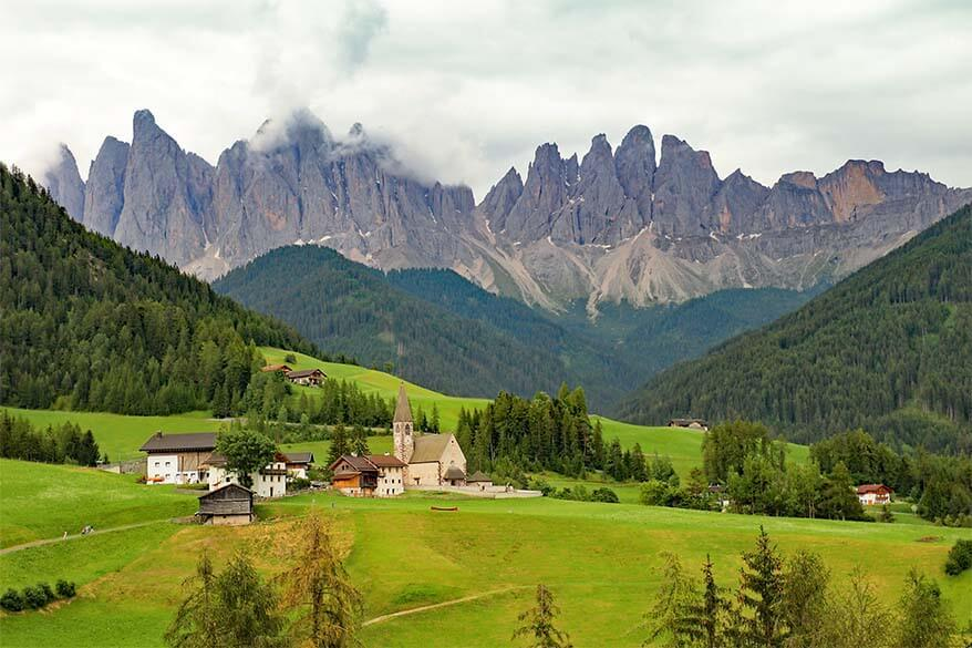 St. Magdalena church - the iconic view of the Dolomites in Italy