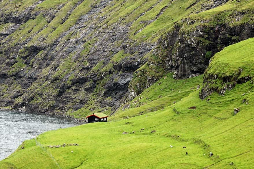 Tiny turf house in Saksun village on the Faroe Islands