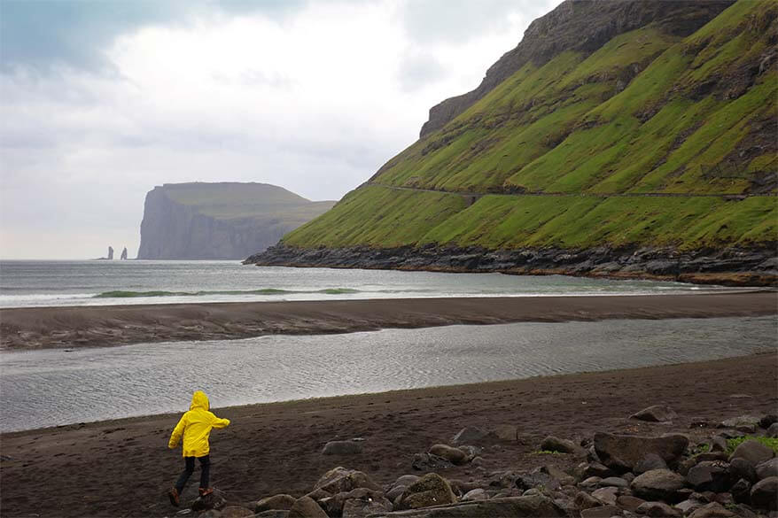 Tjornuvik beach with Risin and Kellingin in the distance - Faroe Islands