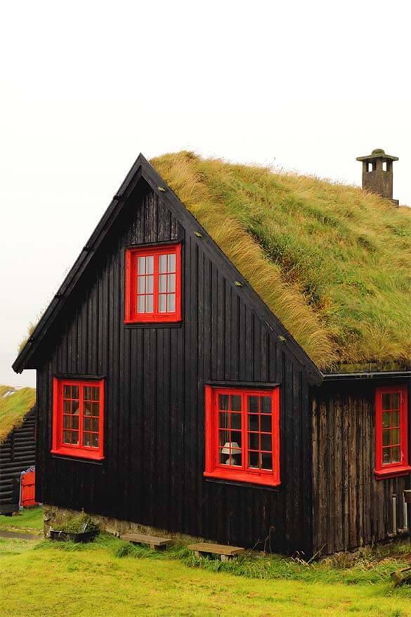 Traditional turf house in Kirkjubour on the Faroe Islands