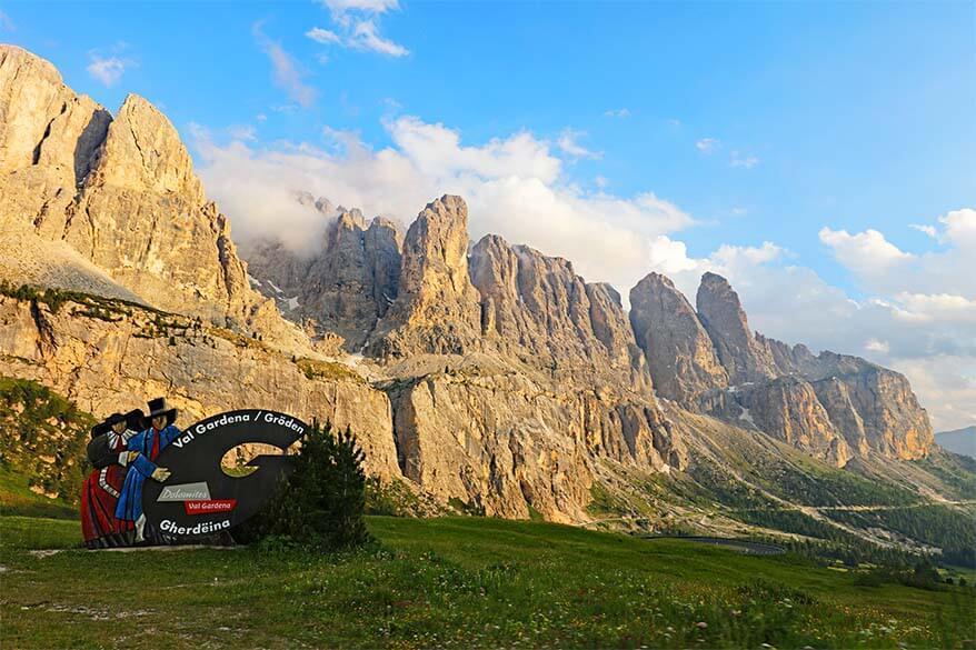 Val Gardena sign at Gardena Pass in the Dolomites