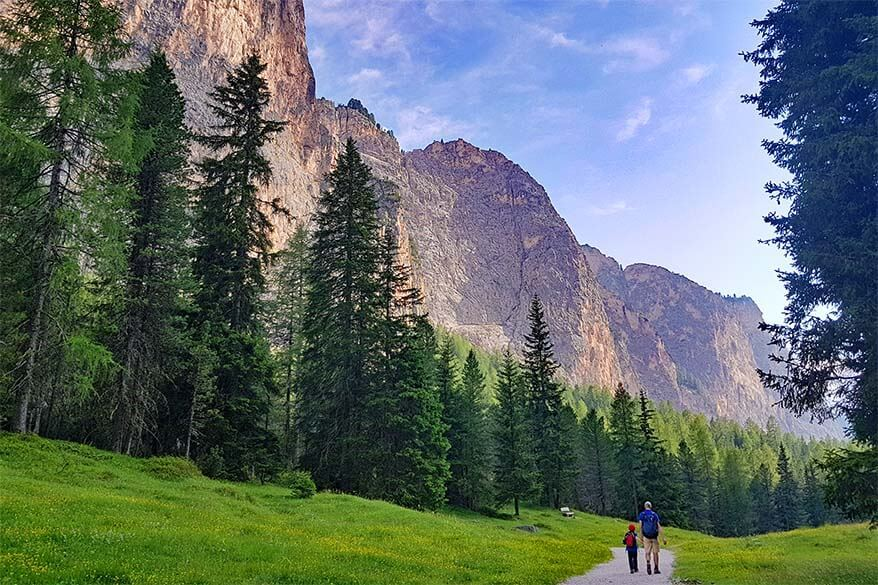 Vallunga hiking area near Selva di Val Gardena in the Dolomites